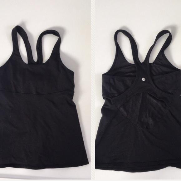 f046784c54 lululemon athletica Tops - Lululemon cross back tank top w built in bra  black